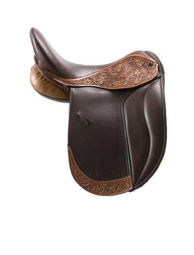 Damn cool looking.  Brown leather dressage saddle with embossed flaps.