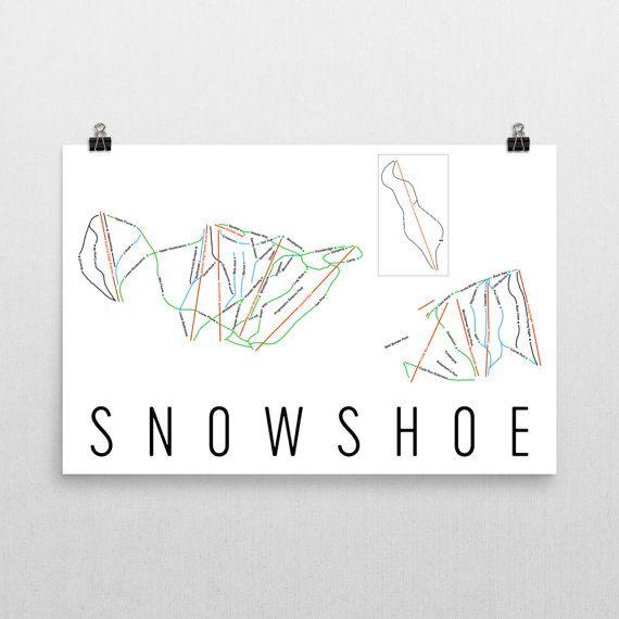 Snowshoe Mountain Ski Map Art, Snowshoe West Virginia