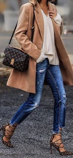 Leopard heels blue jeans and coat