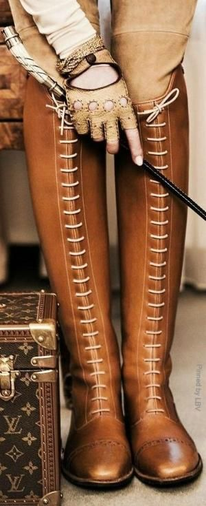 Equestrian lace up Boots