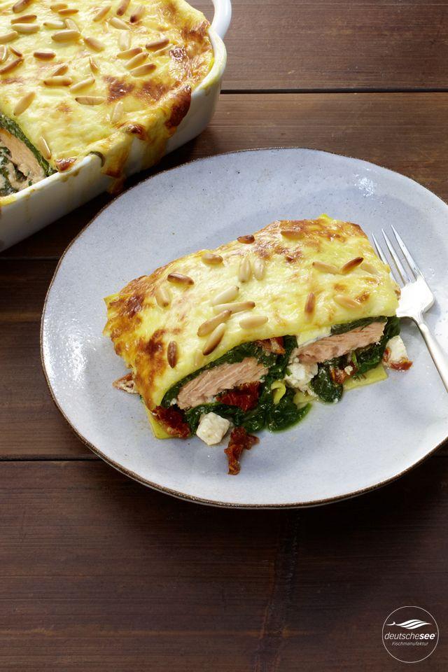 Lachs-Spinat-Lasagne mit Feta