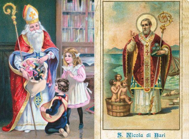 A sinistra San Nicola porta i regali di Natale in una cartolina tedesca del 1939. A sinistra un'immaginetta del santo  con i tre bambini salvati dall'essere divorati e le palle d'oro simbolo della dote che donò a tre poverelle.