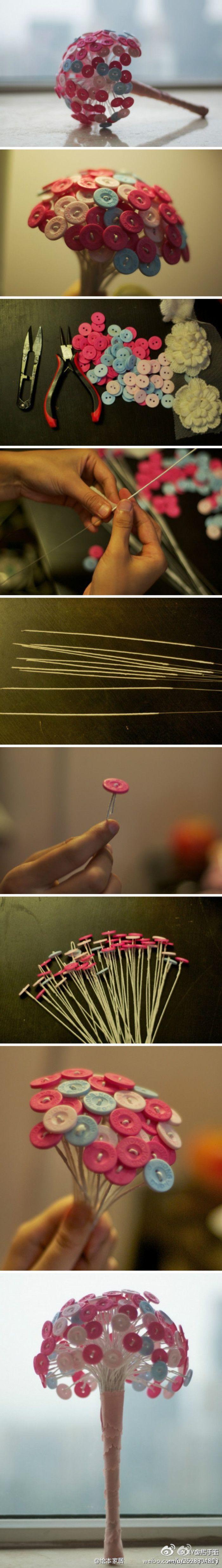 用漂亮缤纷的糖果色钮扣手工DIY一束可爱的手捧花