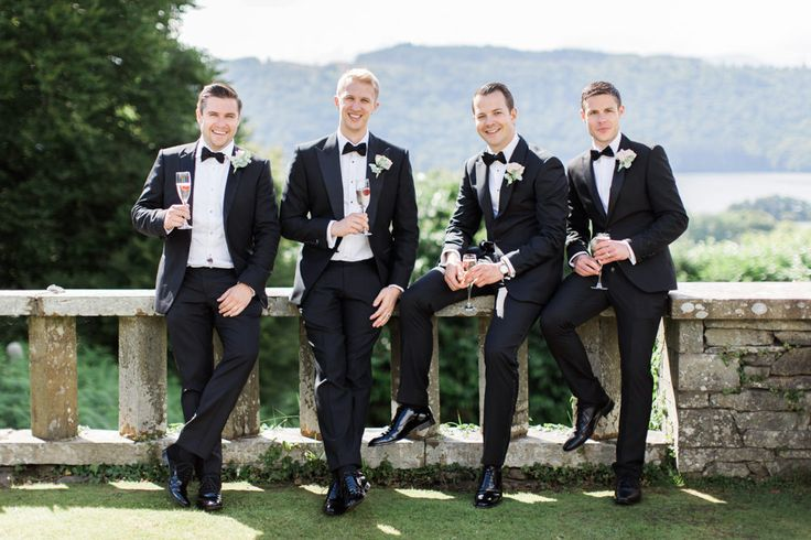 Groomsmen in Black Tie Suits from Chester Barrie | Melissa Beattie Photography | Intimate Pastel Country Wedding | Gossel Ridding Wedding Venue near Lake Windermere | Pale Blue Bridesmaid Dresses | Romantic Lace Bridal Gown from Agape Bridal Boutique