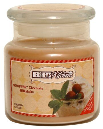 Hersheyu0027s By Hannau0027s Candle 16 Ounce Kitchen Whopperu0027s Chocolate Milkshake  Candle