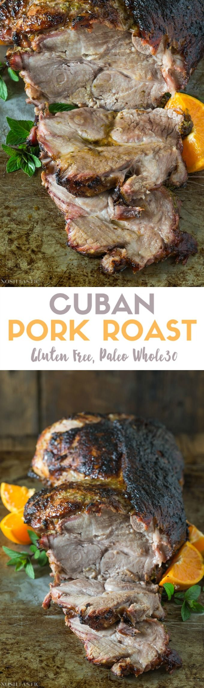 Paleo Cuban Pork that is fall of the bone tender! Marinaded in spices, herbs, & orange juice, this pork roast will melt in your mouth! Whole30 & Gluten Free