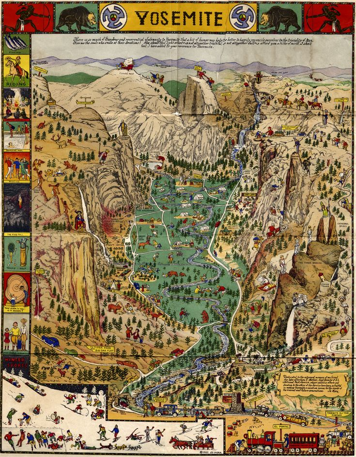 Outrageously Detailed 1931 Map of Yosemite 1573