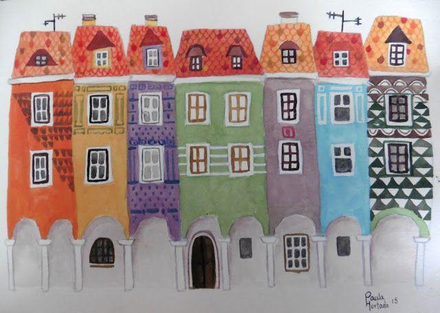 El bosque entintado: Ilustración: Casas de colores de Poznań  Técnica: Gouache  #illustration #drawing #Poznań #gouache