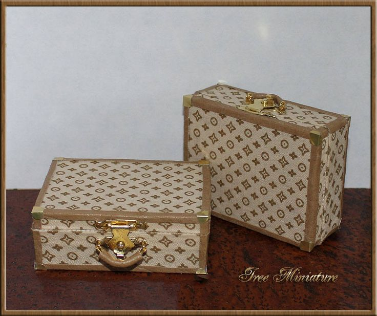 Dollhouse miniature vintage suitcase  travel.  Made in the style of a branded suitcase. LV. Handmade 1:12. For tiny bjd. Luggage. Trunk. by IreeMiniature on Etsy