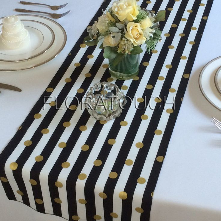 White and Black Striped with Gold Dots Table Runner Wedding Table Runner by floratouch on Etsy https://www.etsy.com/listing/241643266/white-and-black-striped-with-gold-dots