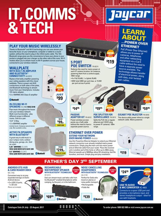 Jaycar Electronics Catalogue 24 July - 23 August 2017 - http://olcatalogue.com/je/jaycar-electronics-catalogue.html