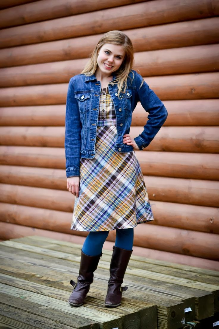 dress, under tshirt, jean jacket, tights, boots - in great country colors. via Fresh Modesty