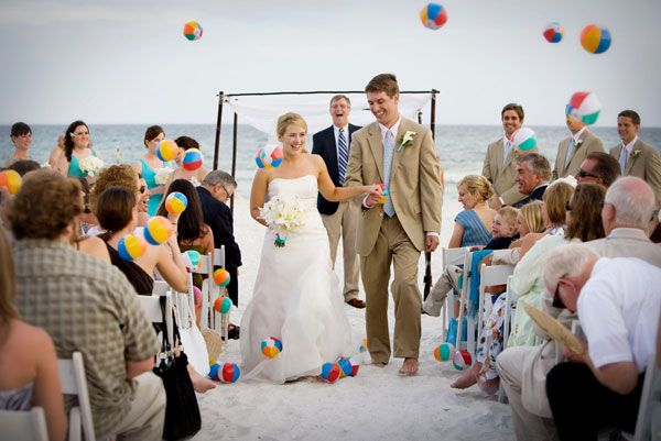 Tossing beach balls instead of rice. I bet the pictures would be so cool!