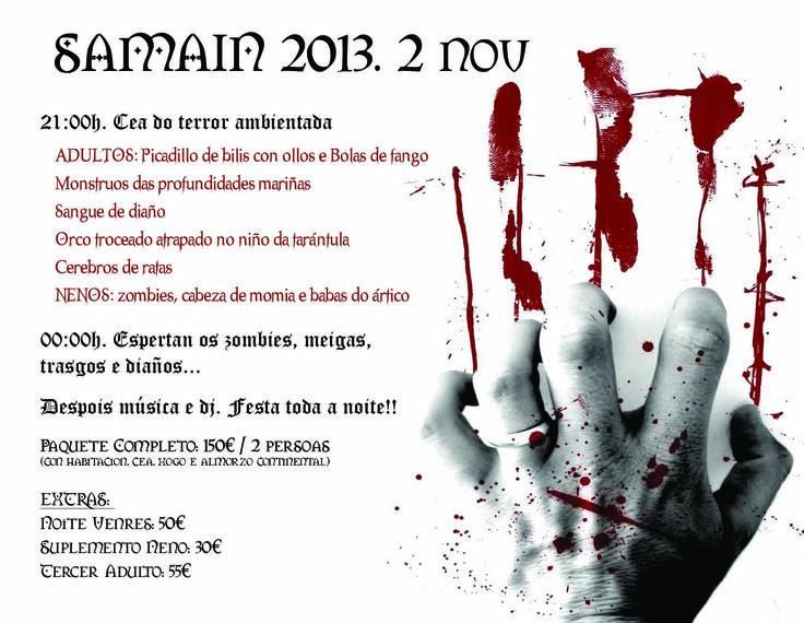 Programa para la Noche del terror en este puente de noviembre de 2013 en la Aldea Rural Couso Galán.