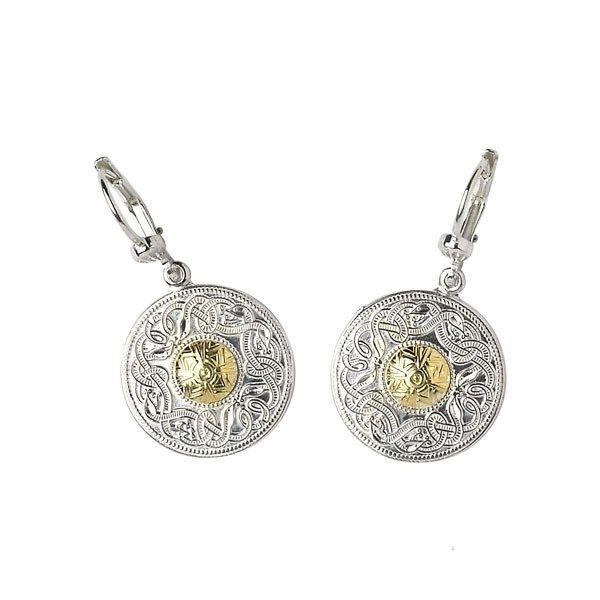 Celtic Warrior Small Earrings with 18k Gold Bead - Celtic Earrings - Rings from Ireland
