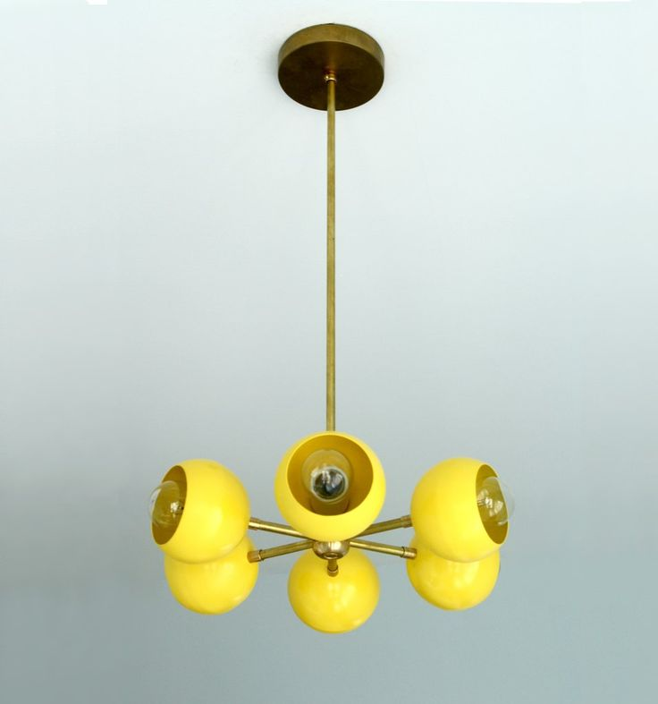 yellow and brass carousel pendant chandelier modern lighting (other colors too)