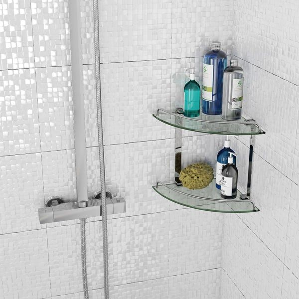 Orchard Options Double Round Corner Glass Shelf Victoriaplum Com Glass Shelves Shelves Washroom Design
