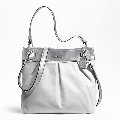 coach pink and gray purse fyuo  Ashley leather hippie Coach purse! Outlet store $129