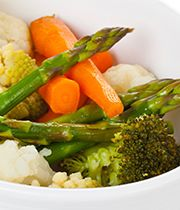 Steamed vegetables with a trio of Japanese-style dressings.
