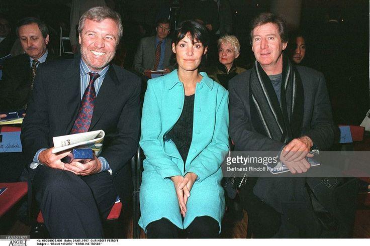 Bruno Masure, Caroline Tresca, Regis Warnie at theLanvin Menswear Fashion Show 1997.
