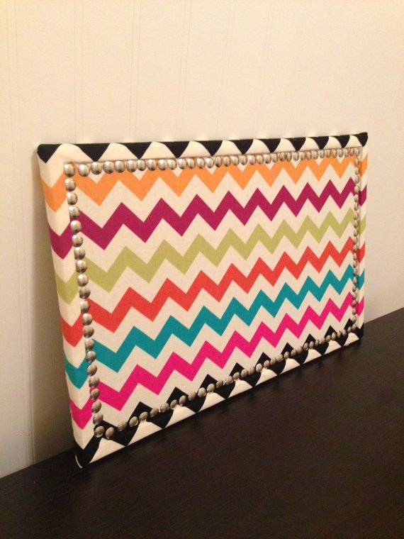Fabric covered chevron cork board 11x17 diy pinterest for How to make a bulletin board without cork