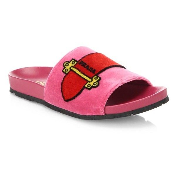 Prada Velvet Buckle Slides ($620) ❤ liked on Polyvore featuring shoes, sandals, fuchsia, buckle shoes, prada sandals, prada, fuschia shoes and velvet shoes