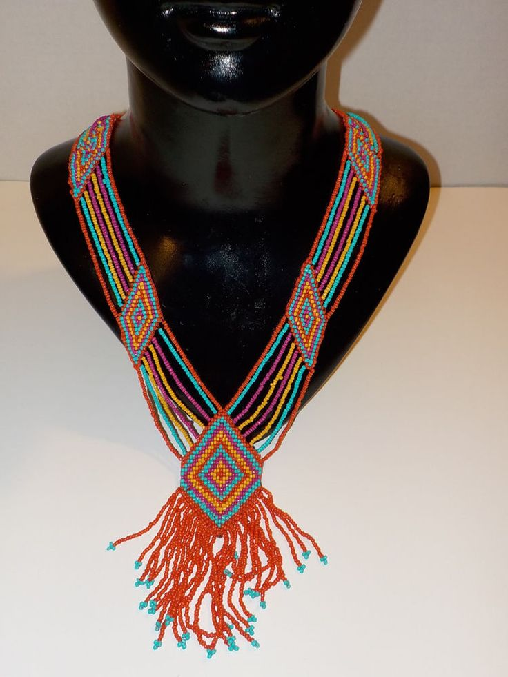 New AZTEC Seed Bead SOUTHWESTERN Women's Necklace Earring SET Cowgirl Western a