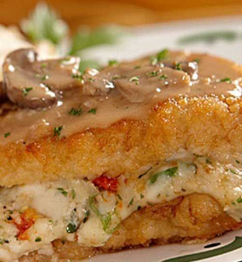 Recipe for Copycat Olive Garden Stuffed Chicken Marsala - It's one of my favorites at the Olive Garden.
