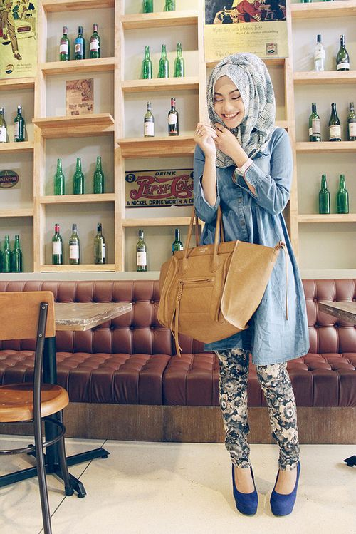 Love the denim shirt dress over patterned pants!