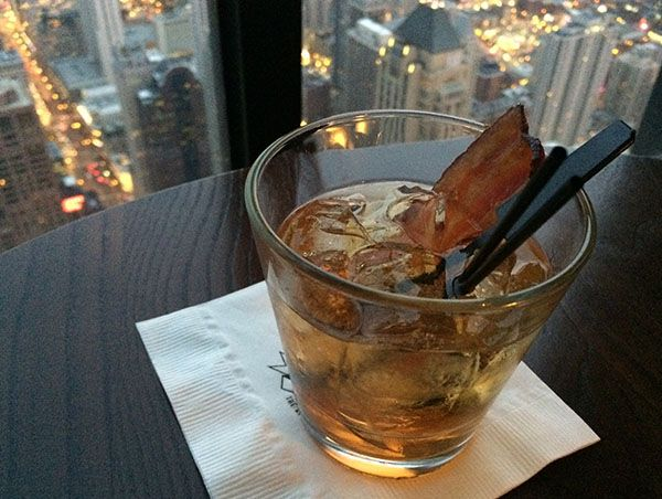 Ahhh a whiskey with a rasher of smoky bacon on the top Hancock Center, Chicago. Yes?