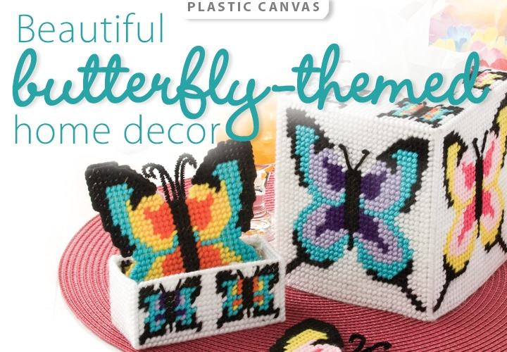 Butterflies Plastic Canvas Pattern from www.AnniesCatalog.com -- Beautiful butterfly-themed home decor.