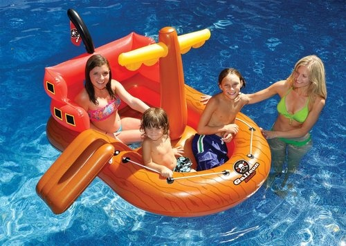 Galleon Raider Inflatable Swimming Pool Toy Float Raft Boat Lake Pirate Ship Outdoors