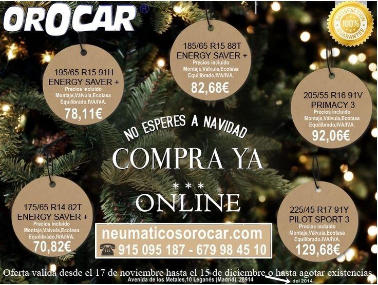No esperéis mas y aprovecharos de estas OFERTAS EN NEUMÁTICOS hasta el 15 de diciembre o agotar existencias. www.neumaticosorocar.com