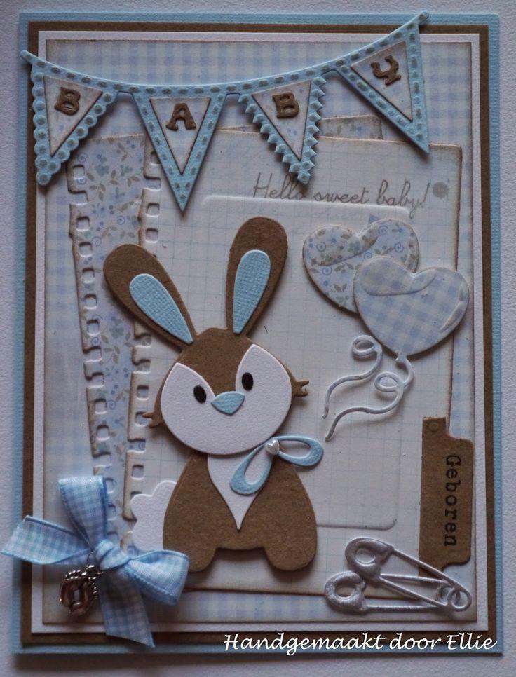 Dag allemaal, Dit keer laat ik weer een babykaartje zien met het schattige konijntje van Eline...