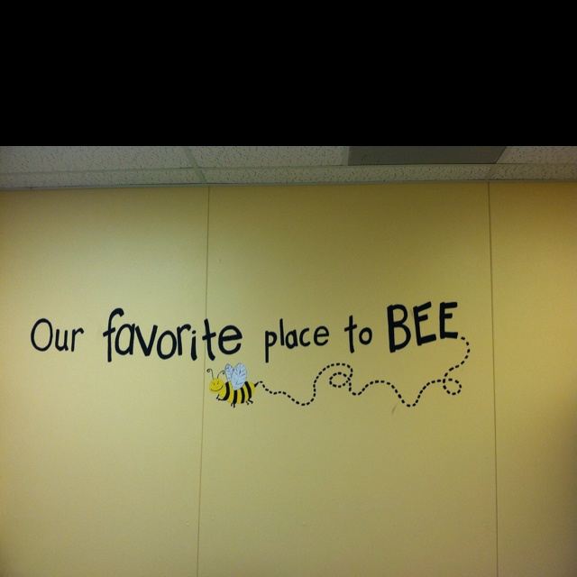 """Cute saying for bee themed bulletin board """"1st Grade is our favorite place to BEE!"""""""