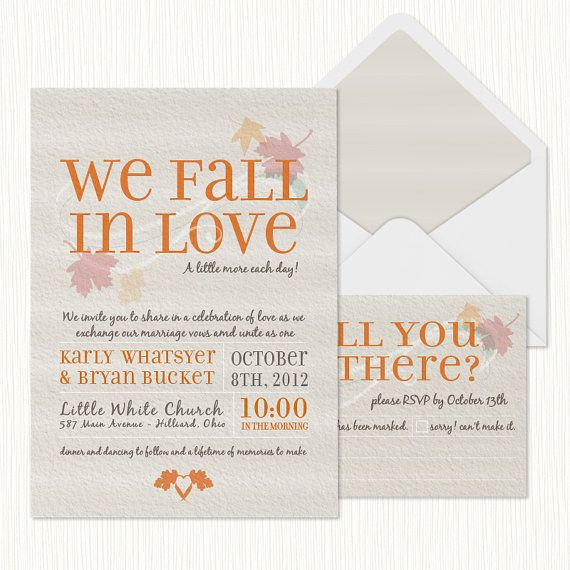 We+Fall+in+Love+Wedding+Invitation+PRINTABLE+by+sparkmyminddesigns,+$25.00