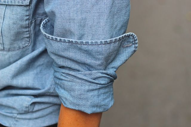 How to cuff a shirt.  Men roll their sleeves; women cuff.: