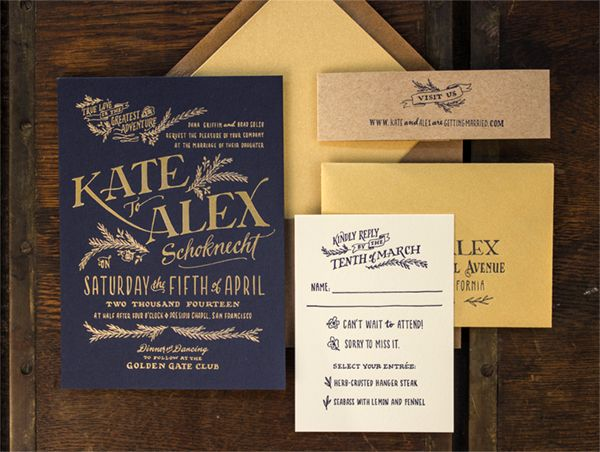 Elegant gold foil and kraft wedding invitation suite.  Stunning typography and palette. Via Oh So Beautiful Paper.