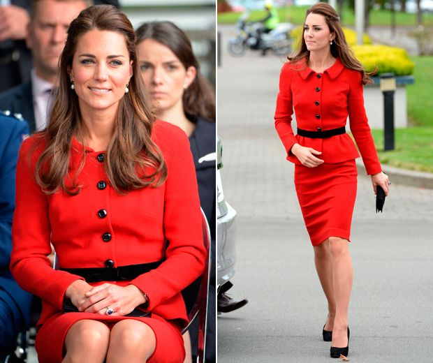 Kate Middleton's sartorial style parade continues in New Zealand as the Duchess wows in a sizzling red suit by Luisa Spagnoli.