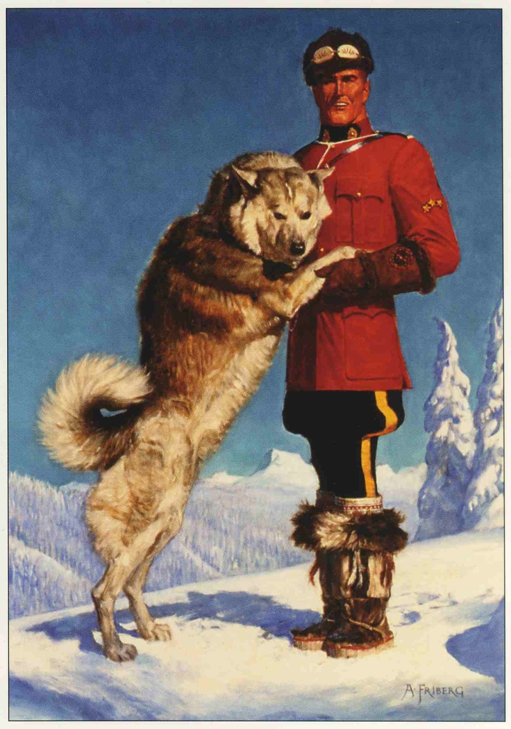 """""""M.P. with Husky"""" Notecard by Arnold Friberg"""