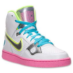 Women's Nike Son of Force Mid Casual Shoes  FinishLine.com   White/Metallic Silver/Pink Glow