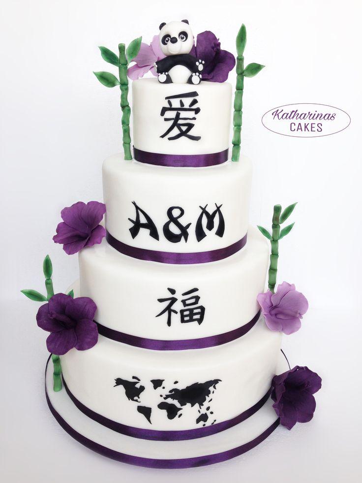 Elegant Chinesische Hochzeitstorte Panda Hibiskusb ten und Bambus aus Fondant Etagen vierst ckig