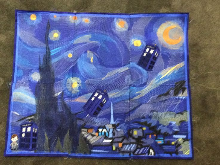 Starry night embroidered complete with Tardis from my Doctor Who quilt