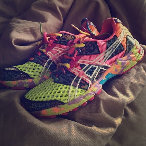 Asics Neon Running Shoes Lightly used, very bright and comfortable asics Shoes Sneakers
