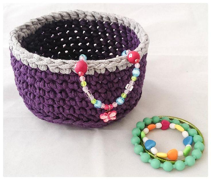 Crochet basket, Ribbon XL.