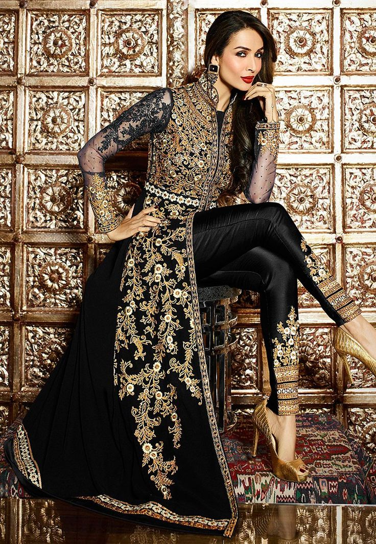 Semi-Stitched Faux Georgette and Net Abaya Suit with Poly Shantoon  Prettified with Resham, Zari, Stone and Patch Border Work Available with a Poly Shantoon Straight Pant and a Faux Chiffon Dupatta in Black The Kameez and Bottom Lengths are 56 and 42 inches respectively Do note: The Length may vary upto 2 inches. Accessories shown in the image are for presentation purposes only.(Slight variation in actual color vs. image is possible)