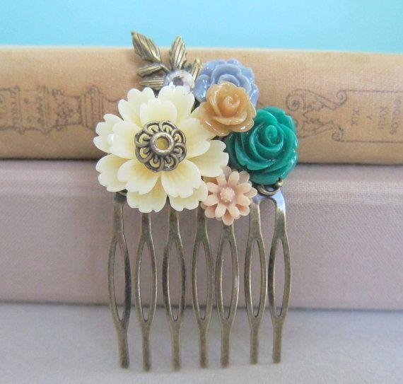 Fall Wedding Hair Comb Dark Emerald Green Gray Brown Beige Cream Hair Comb Woodland Bridal Headpiece HairPiece Bridesmaid Gift Maid of Honor