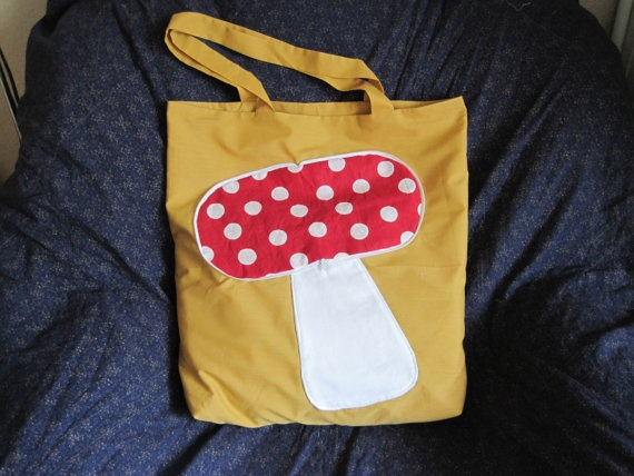 Mushroom Bag Zipaway reusable shopping bag by NewLifeBags on Etsy, $13.50