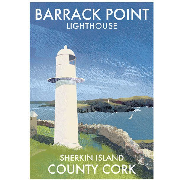 A4 (297 x 210mm) Poster of Barrack Point Lighthouse on Sherkin island, County Cork Printed 250g/m² art print paper Artist: Roger O'Reilly