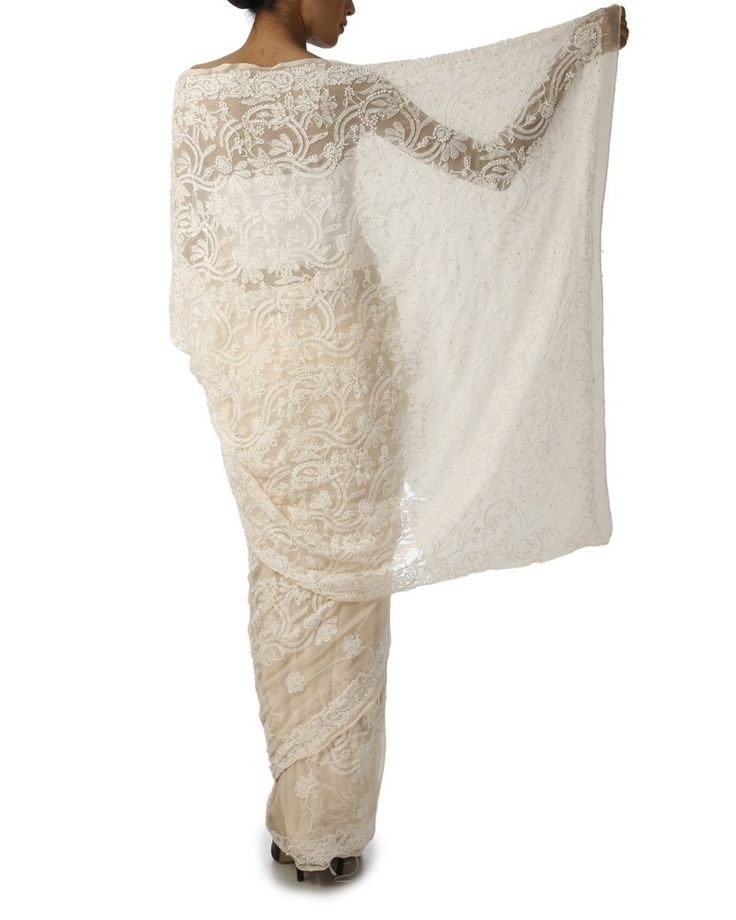 indian roots white sarees   ... 480x600 Pure Cotton Sarees– The Delightful Ethnic Wears of India